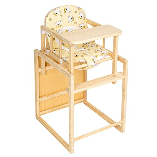 TecTake Kinderhochstuhl Kombihochstuhl Hochstuhl Babyhochstuhl Holz Baby Stuhl + Tisch 2 in 1 Kombination gelb