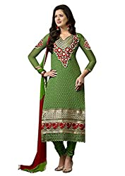 RICH TREND'Z Women's Georgette Dark Green Semi-Stitched Salwar Suit Dress Material With Dupatta