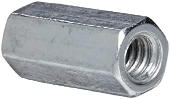 "12L14 Steel Coupling Nut, Zinc Plated Finish, Grade 5, Right Hand Threads, Corrosion Resistant, 1/4""-20 Threads, 3/8"" Width Across Flats (Pack of 50)"