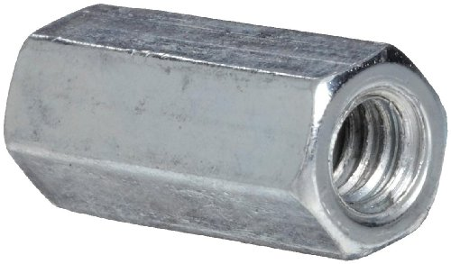 12L14 Steel Coupling Nut, Zinc Plated Finish, Grade 5, Right Hand Threads, Corrosion Resistant, 1/4