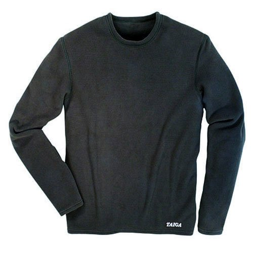 TAIGA Men's Polartec Microfleece Crewneck Long-Sleeved Fleece Shirt, Black, MADE IN CANADA, Small (chest: 37