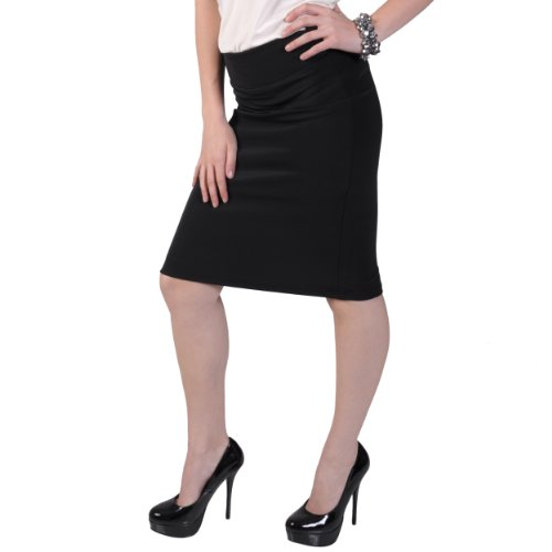 Brinley Co Womens Stretchy Pinstriped Pencil Skirt Image