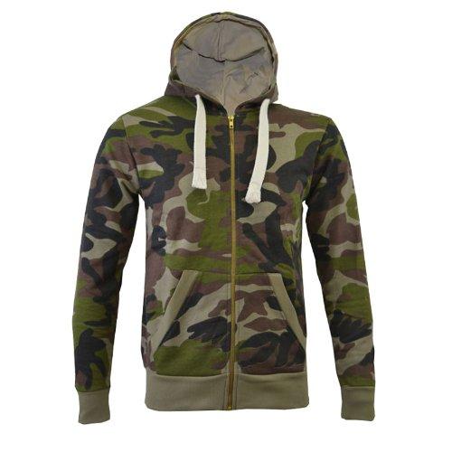 Mens Camouflage Hoodie Army Military Zip Hoody Top Sizes UK S