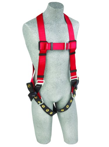 3M Protecta PRO 1191238 Fall Protection Full Body Harness, Back D-Ring, Tongue Buckle Legs, 420-Pound Capacity, X-Large, Red/Black (Fall Harness Xl compare prices)