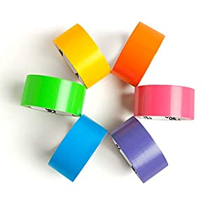 Craftzilla Colored Duct Tape Rainbow Color Craft Set 10 Yards x 2 Inch Rolls 6 Color Variety Pack