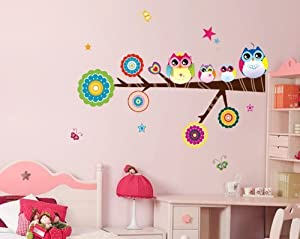 Free Will Colorful Owls on the Tree Branch Vinyl Wall Decals Sticker for Nursery Babys' Room Decor by Free Will