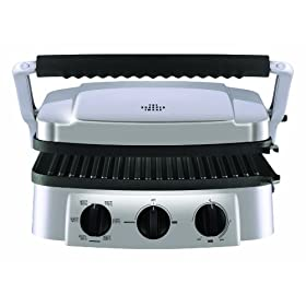 The Sharper Image 8147SI Stainless-Steel Super Grill with Interchangeable Nonstick Plates