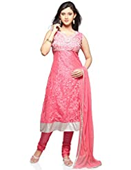 Utsav Fashion Women's Light Pink Brasso Net Readymade Anarkali Churidar Kameez-X-Small