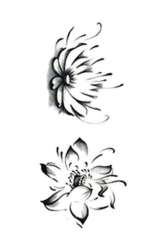 Set Of Beautiful Lotus Couple Pattern Tattoo Stickers Waterproof