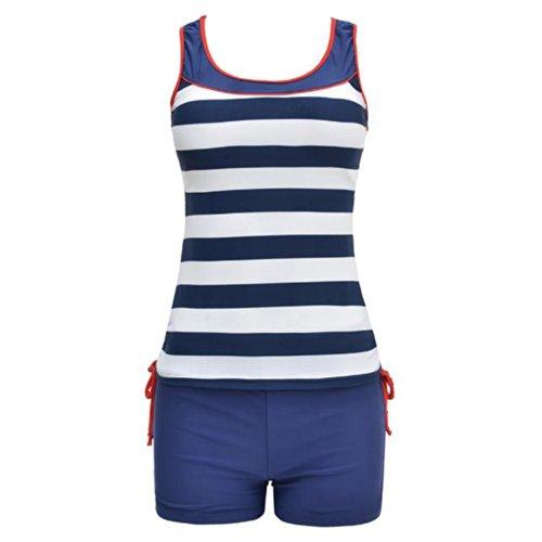 Your Gallery Sexy Cute Modest Sports Swimwear Vertical Stripes Padded Bikini Swimsuit (blue, 2XL(US 8-10)) image