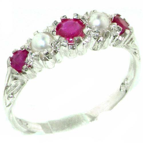 Antique Style Solid Sterling Silver Natural Ruby & Pearl Ring with English Hallmarks - Size 11.75 - Finger Sizes 4 to 12 Available - Suitable as an Anniversary ring, Engagement ring, Eternity Ring, or Promise ring