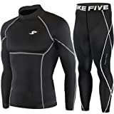 New Black Compression Under Base Layer Wear Top & Pants SET Skin Tights Mens