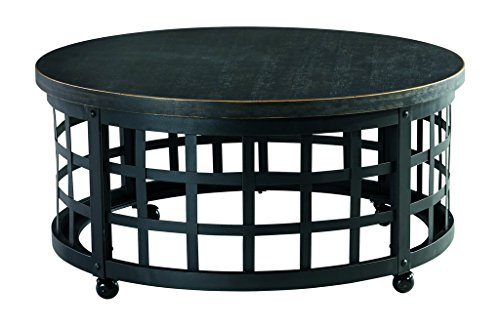 Signature Design by Ashley Marimon Round Cocktail Table, Black (Round Coffee Tables Black compare prices)