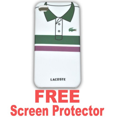 Ec00072e Lacoste Case Hard Case Cover for Apple Iphone4 4g + Free Screen Protector