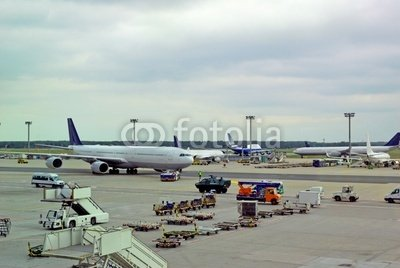 "Wallmonkeys Peel and Stick Wall Decals - Germany, Airplane Traffic at Frankfurt Airport - 36""W x 24""H Removable Graphic"