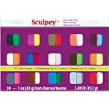 Sculpey III S3 30-1 Oven Bake Clay Sampler, 30 Colors