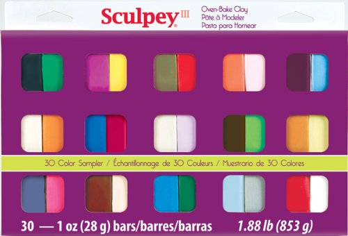 Sculpey III S3 30-1 Oven Bake Clay Sampler, 30 Colors (Sculpey Oven Bake Clay Kit compare prices)