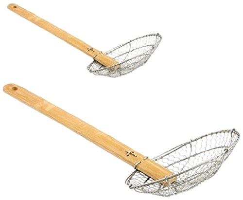 ChefLand 4-Inch and 6-Inch Asian Spider Skimmer Strainer with Bamboo Handle, Stainless Steel, Set of 2 (Strainer Frying compare prices)