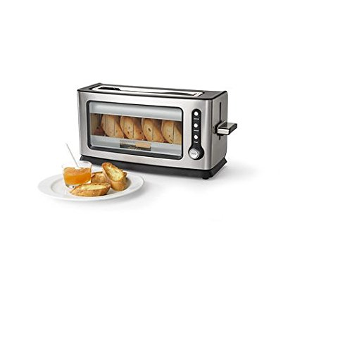Living Home Kitchen Glass Clear View Long Slot 2-Slice Toaster