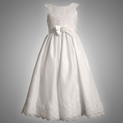 Size-8 BNJ-6006R WHITE ROSETTE WAIST SEQUIN PEARL EMBELLISHED SATIN Special Occasion Wedding Flower Girl First Communion Party Dress,R46006 Bonnie Jean Girls 7-16