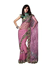Anvi Creations Pink Net Georgette Heavy Embroidered Saree (Pink_Free Size)