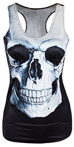 erdbeerloft - Damen Totenkopf Tank Top Shirt Bedruckt Print, Größe One Size S-M, Mehrfarbig