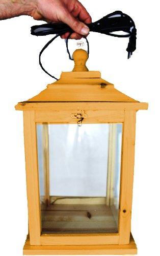 Tolle Holzlaterne, als Glasvitrine mit Beleuchtung, mit Glas und Holz - Rahmen, KL-OFOS-HELLBRAUN aus Holz in amazon hellbraun braun