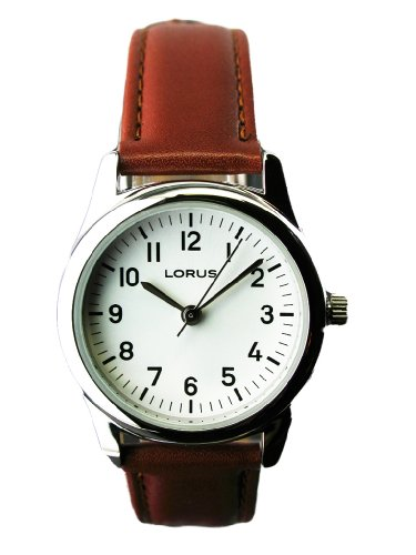 WOMENS LORUS BROWN STRAP WATCH ez Reader LR0831