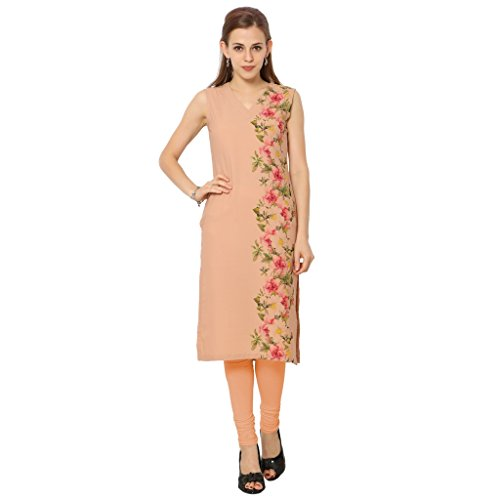 ZIYAA Peach Color Sleeveless AndV Neck Faux Crepe Kurti