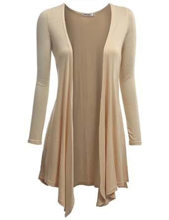 Doublju Women Fashionable Long Sleeve Regular Fit Knit Drape Shawl Open Cardigans BEIGE,S