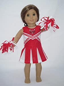 Doll Cheerleader Outfit, Red and White Cheerleader for 18 Inch Dolls Including the American Girl Line