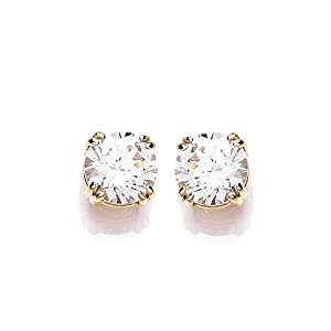 9ct Yellow Gold Swarovski Enlightened C.Z. French Fitting Round Stud Earrings