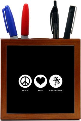Rikki Knighttm Peace Love Hair Dresser Black Color Design 5 Inch Tile Wooden Tile Pen Holder front-577956