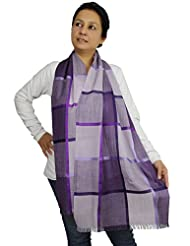 Shalinindia Women Accessory Indian Scarf Modern Striped Pattern Wool Silk Blend