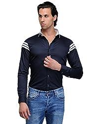 Edjoe Men Navy Blue Three Stripes Slim Fit Club/Party/Casual Wear Shirt, BLEDMS0087