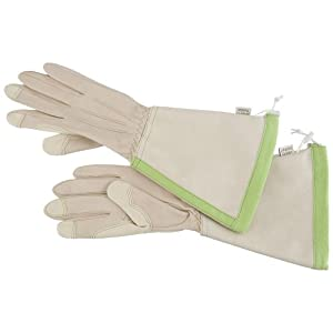 Angela's Garden 7104-401L Gauntlet Leather Glove, Beige with Green, Large