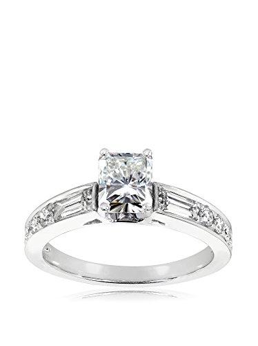 Kobelli 14K White Gold Radiant-Cut Moissanite & Diamond Forever Classic Engagement Ring