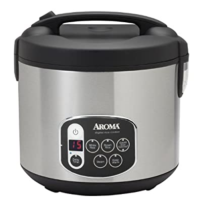 Aroma 20-Cup (Cooked) (10-Cup UNCOOKED) Digital Rice Cooker & Food Steamer, Stainless Steel Exterior (ARC-1010SB) from Aroma Housewares