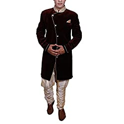 Alark Velvet Mens Brown Ethnicwear 40