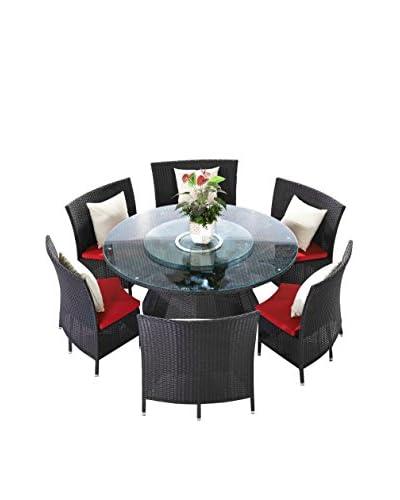 Ceets Nightingale 7-Piece Patio Dining Set, Black/Red