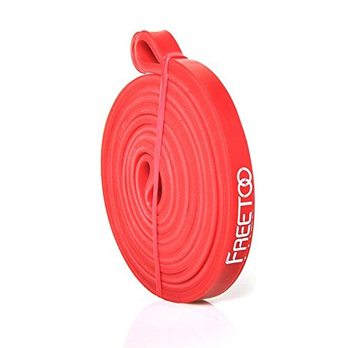 FREETOO フィットネスチューブ スーパーハード トレーニングチューブ レギュラータイプ 機器 男性 筋力トレーニング リフティング筋肉 レッド 15ポンドから35ポンドまで