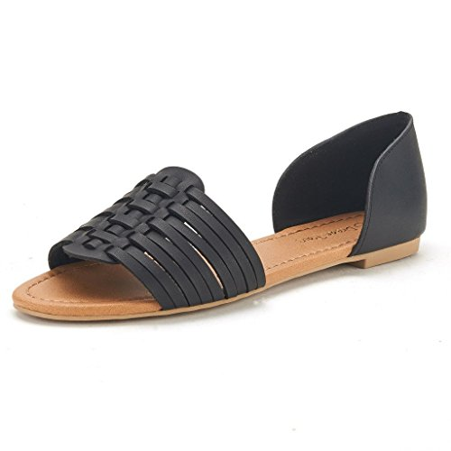 DREAM PAIRS RITAA Women's Gladiator Easy Slip On Open Narrow Toe Flat Summer Sandals BLACK SIZE 10