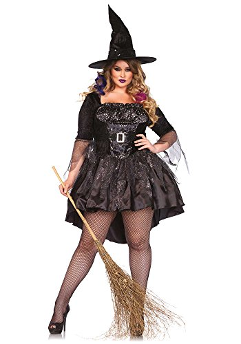 Leg Avenue Women's Plus-Size 2 Piece Black Magic Mistress Witch Costume, Black, 3X