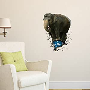 3d wall stickers wall decals elephant bathroom decor for Bathroom decor amazon