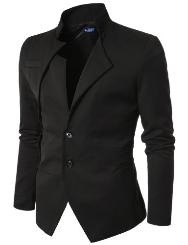 Doublju Mens Unbalanced Blazer Jacket BLACK Asian L, US M(JUK01)