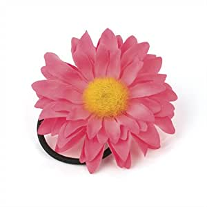 Neon Pink Sunflower Style Flower Hair Elastic Bobble Corsage: Jewelry