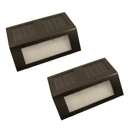 Dark Brown Stainless Steel Solar Powered Staircase Step And Wall Light With White Leds (2 Pack)