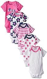 Gerber Baby-Girls Variety Onesies Brand Bodysuits, Flowers, 0-3 Months (Pack of 5)