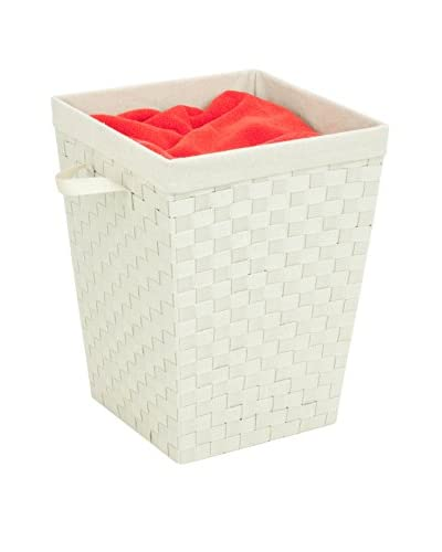Honey-Can-Do Woven Strap Hamper with Liner, Crème