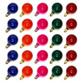 Sival 40121 - G40 Candelabra Screw Base Satin Multi-Color (25 pack) Christmas Light Bulbs